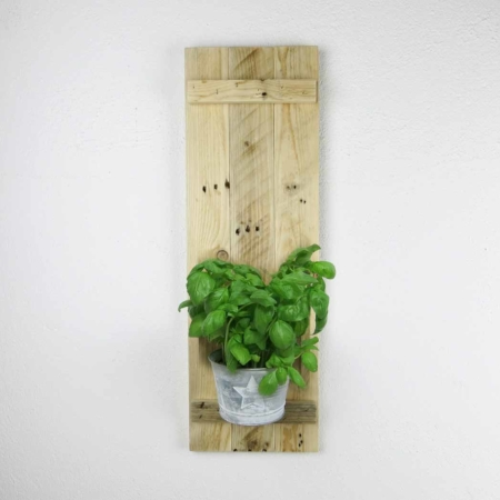Wandkonsole Altholz mit Zink-Blumentopf Stern