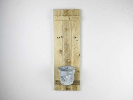 Wandkonsole Altholz mit Zink-Blumentopf Stern ohne Deko