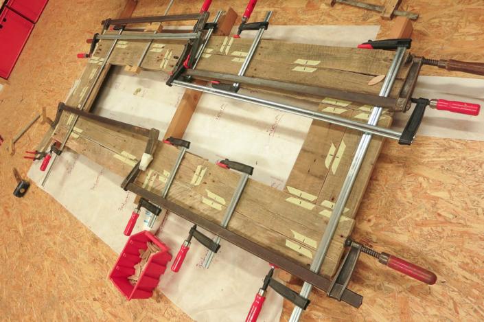Gartenspiegel Palettenholz verleimen