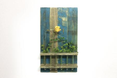 Wand Blumendeko Petrol