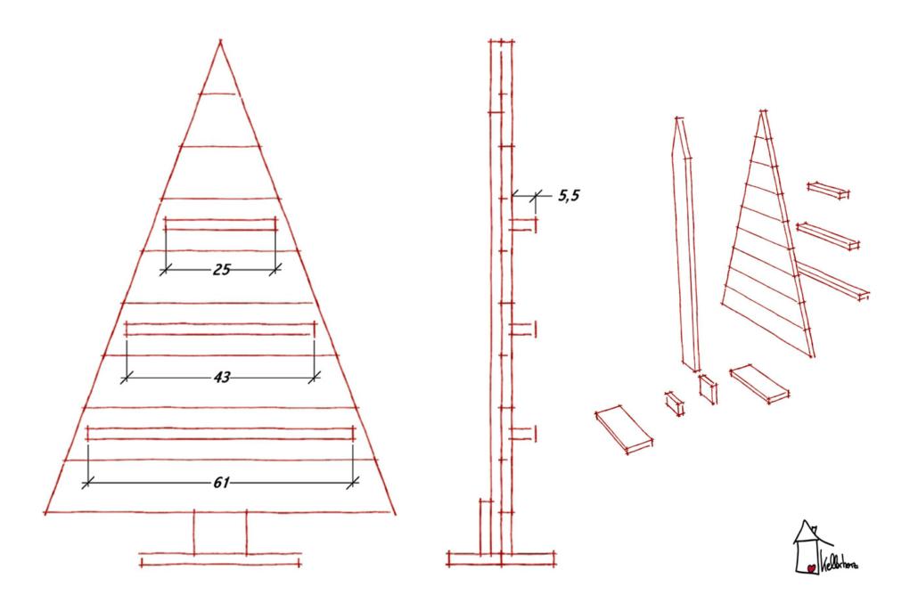 Weihnachtsbaum-basteln-Skizze