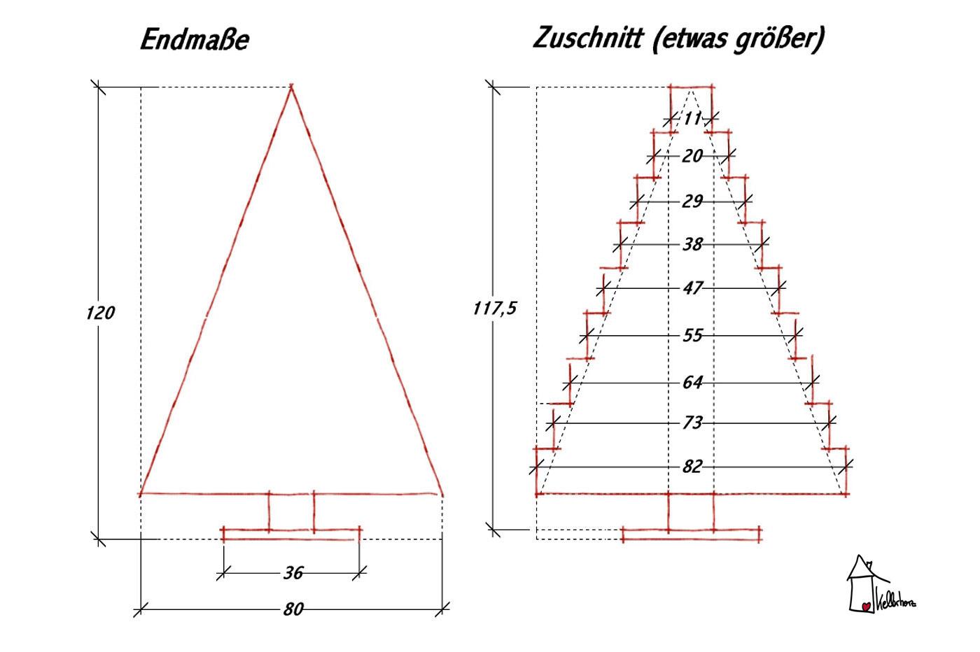 Weihnachtsbaum basteln Skizze Abmessungen
