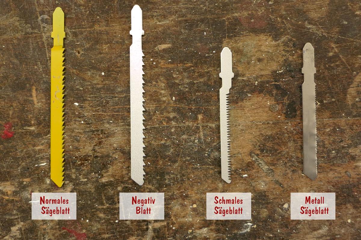 Stichsägeblätter Übersicht normal, negativ, Rundung und Metallsägeblatt