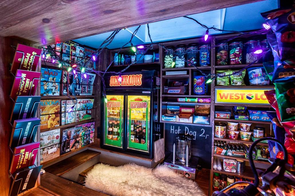 Kiosk Zeitschriften und kühle Getränke
